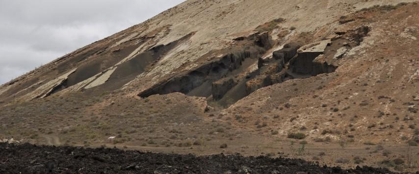 Lanzarote, eroze sopečných svahů