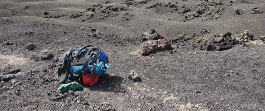Opuštěný batoh u Montaña del Cuervo