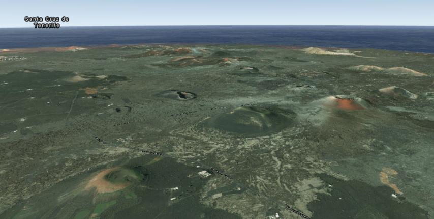 Sopky centrální části ostrova.