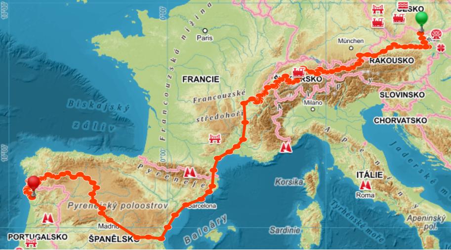 Trasa cesty na konec světa