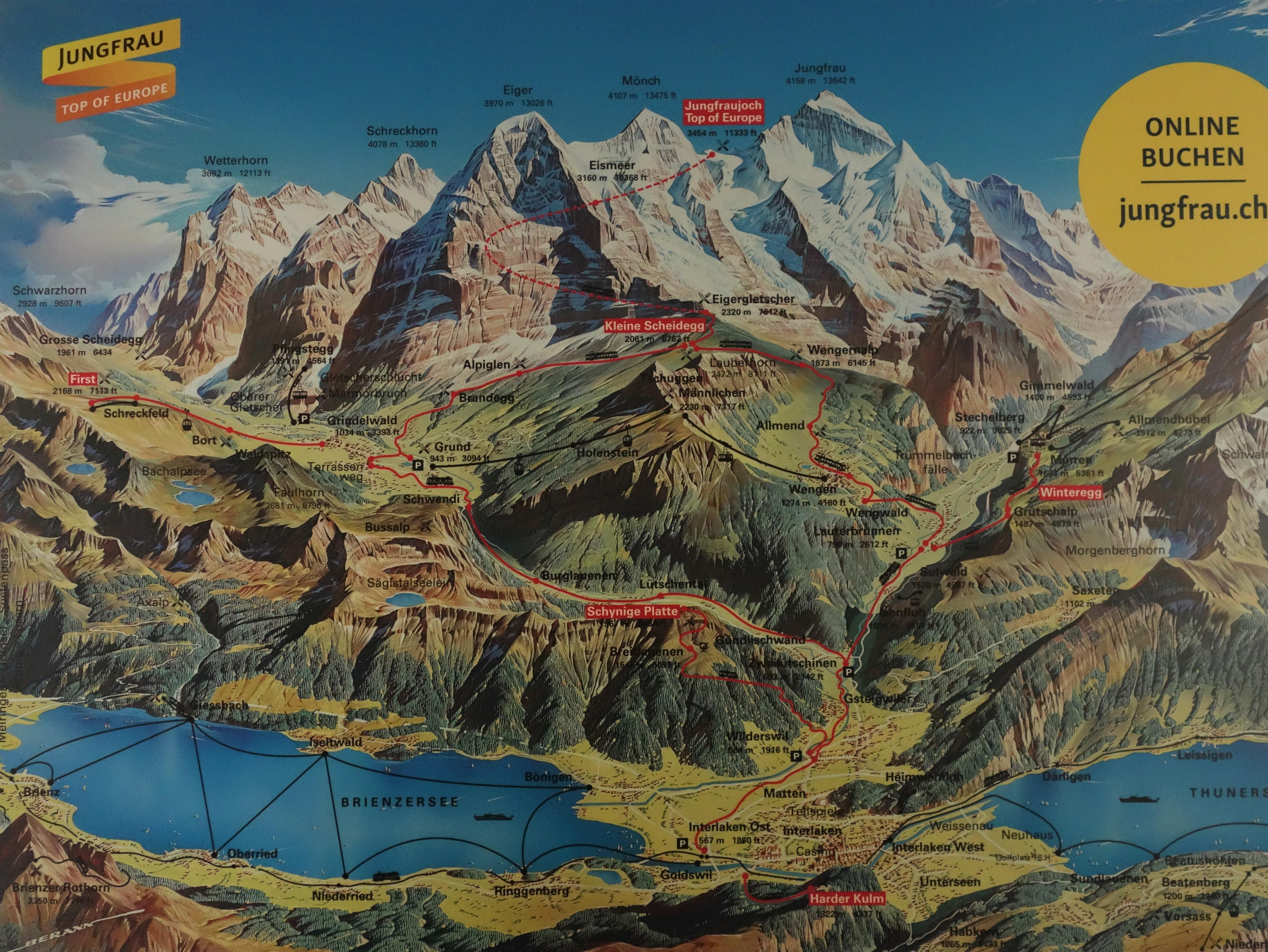 Výletní doprava v okolí Interlakenu