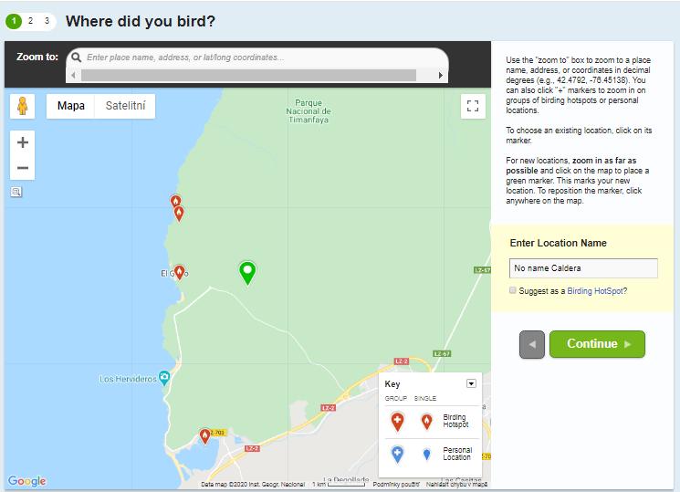 Zadávání dat na eBird - místo pozorování v mapě
