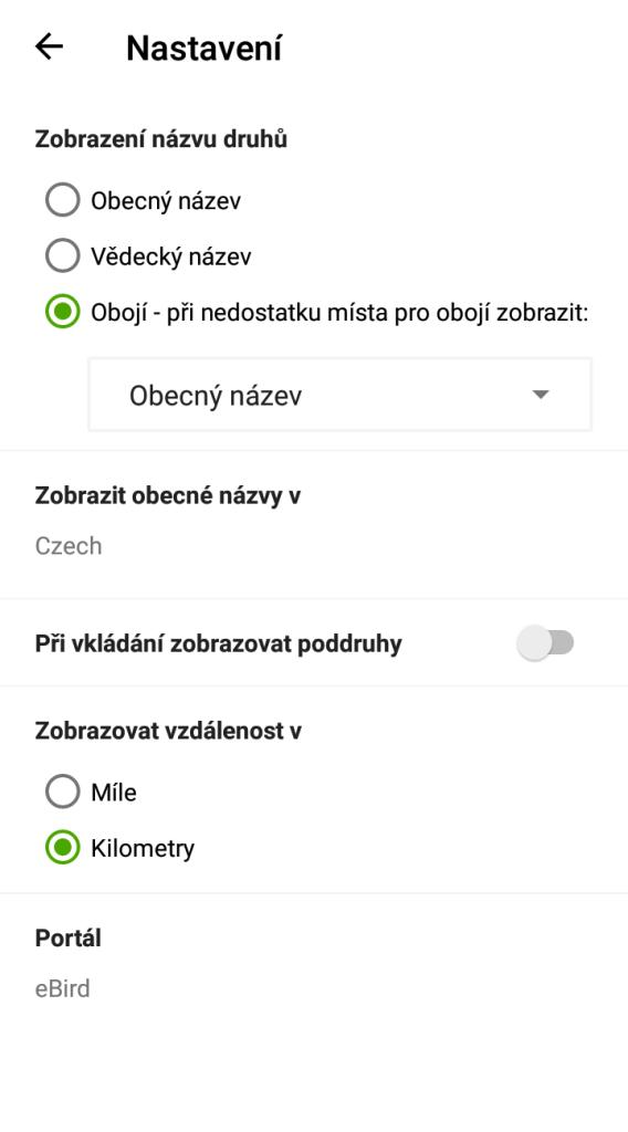 Mobilní verze eBird